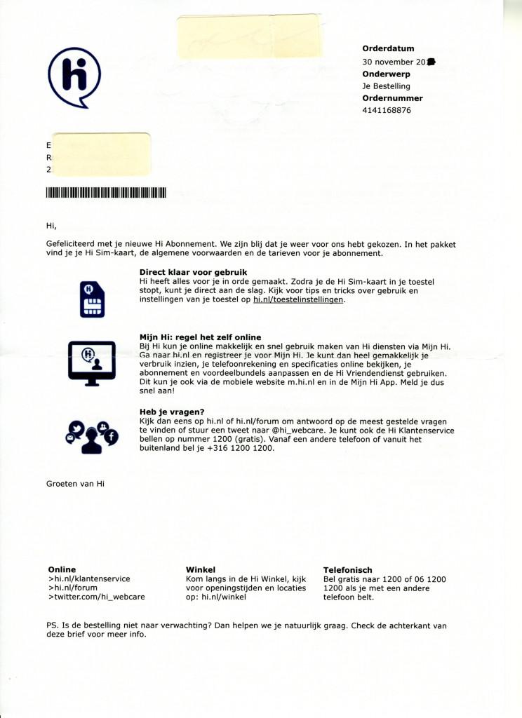voorbeeldbrief Les 15: Voorbeeldbrief 2 hi abonnement   Zakelijk Schrijven