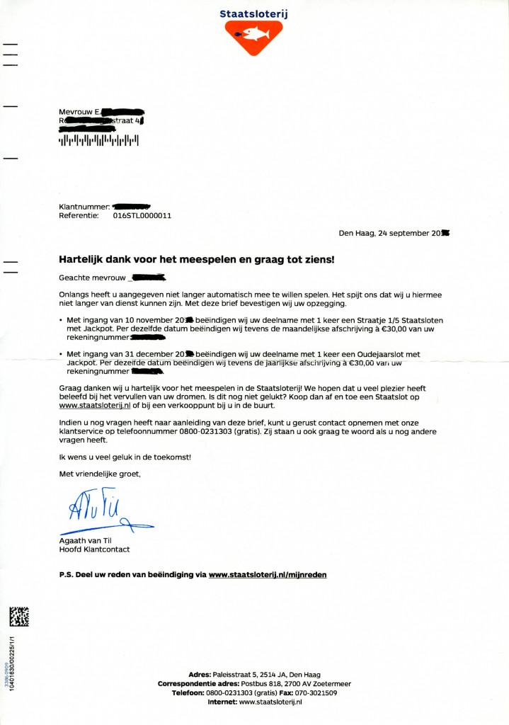 brief schrijven zakelijk Les 18: Voorbeeldbrief 5 Staatsloterij bevestiging opzegging